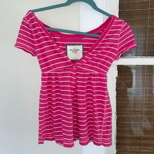 {A&F} V-Neck Striped Cinched Blouse